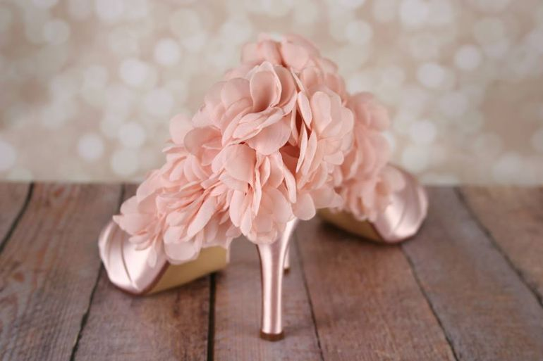 chiffon wedding shoes blush