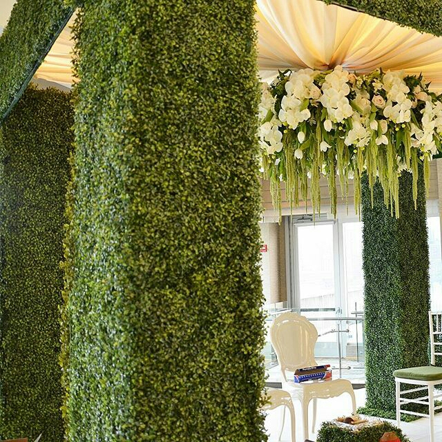 Image 2 custom designed green mandap from @designhousedecor
