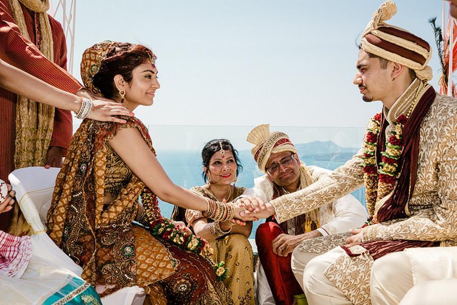 Big Fat Greek Indian Wedding in Santorini Greece