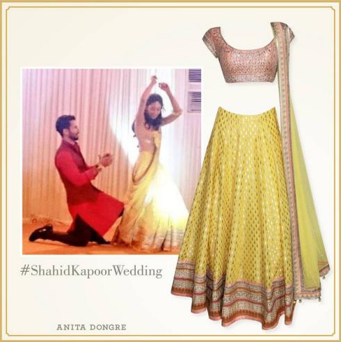 what-mira-wore-to-her-sangeet-yellow-anita-dongre-lehenga-shahid-kapoor-mira-rajput-wedding