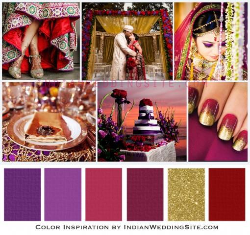 indian wedding color inspiration amethyst ruby and gold