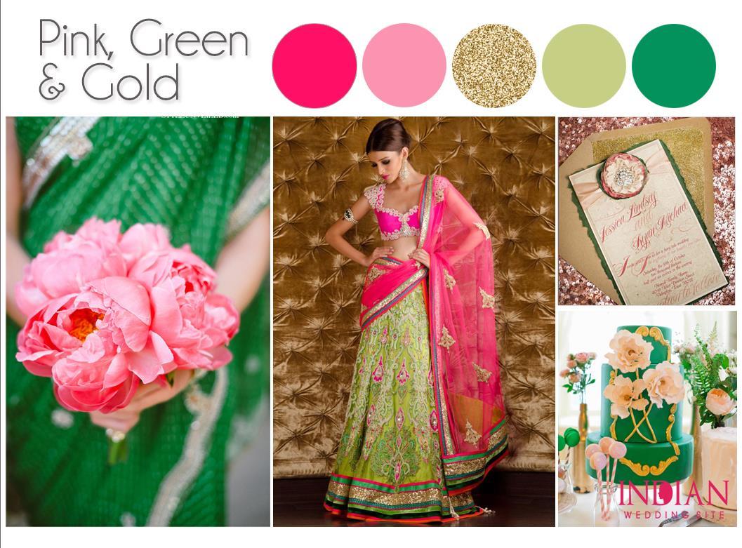 Pink Green Amp Gold Indian Wedding Color Palette