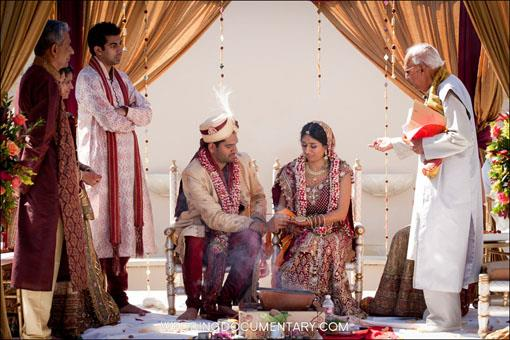 Purple and Gold Outdoor Hindu Wedding by Wedding Documentary
