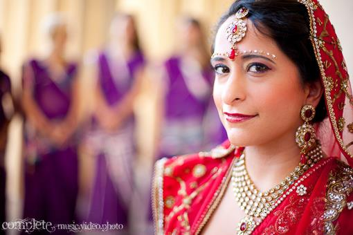 Purple Indian Bridesmaids Saris and Cream Groomsmen Kurtas - 3