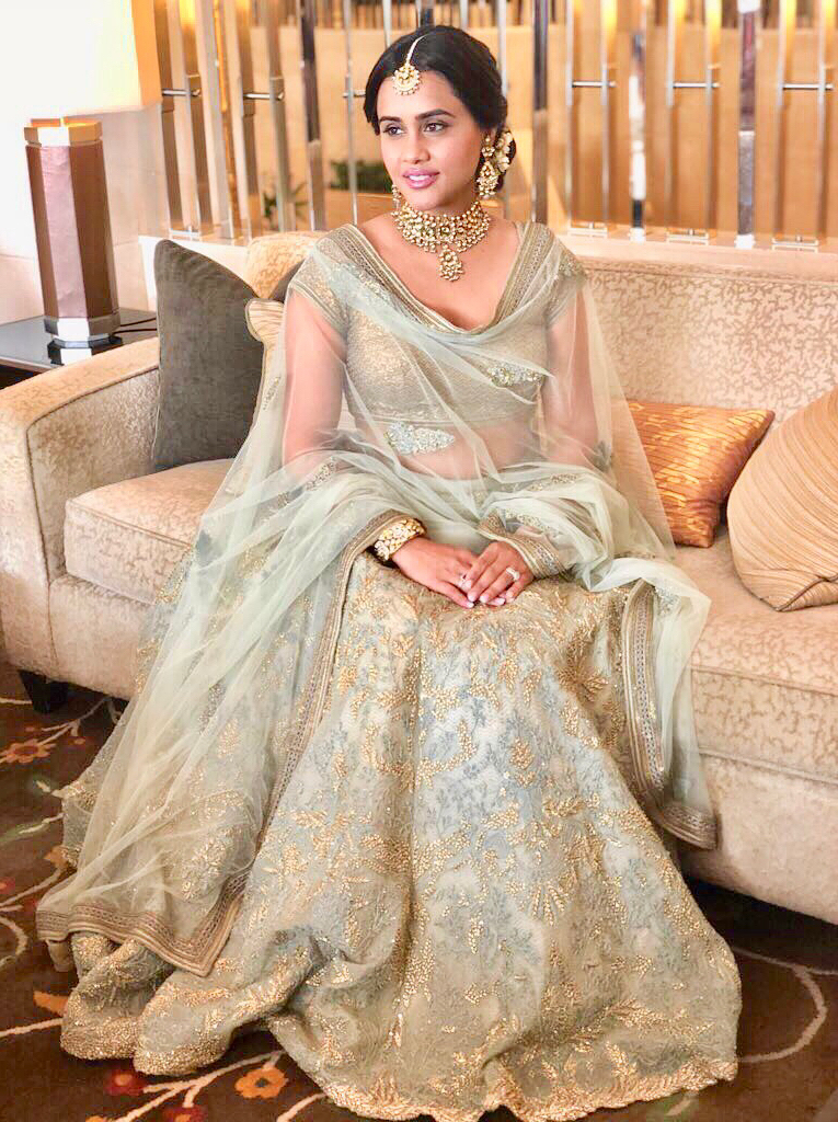 pastel blue and gold - Seema-S-Chenam-at-Sonam-Kapoor-wedding-in-Shantanu-Nikhil