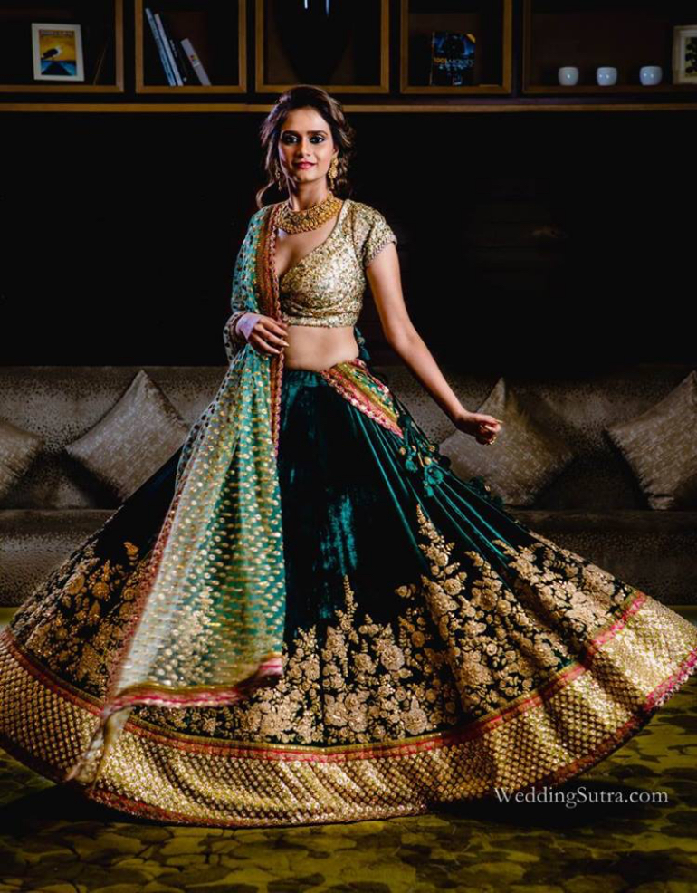 Rihaa in bottle green lehenga - Art Leaves a Mark