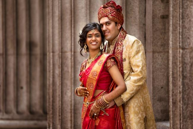 21a indian wedding portrait bride and groom
