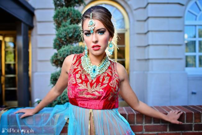 indian wedding blue makeup and jewelry