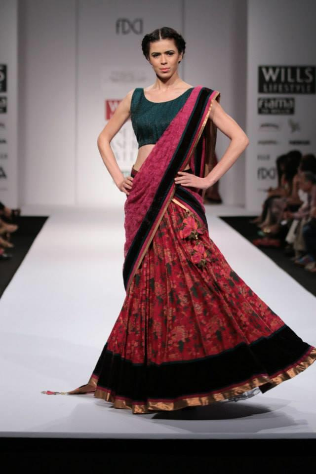 Pinnacle by Shruti Sancheti Wills Lifestyle India Fashion Week 2014 green pink floral lehnga