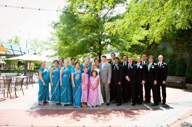 9f Indian wedding bridal party turquoise sari bridesmaid