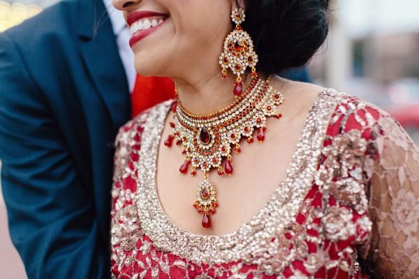 29a Indian reception bridal red jewelry